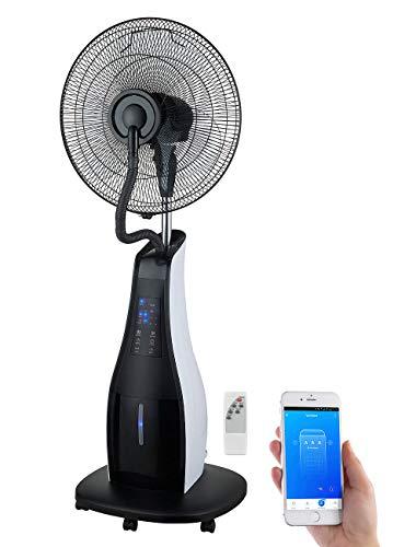 Sichler Haushaltsgeräte Ventilateur: Stand-Sprühnebel-Ventilator mit Oszillation, WLAN, App, Timer, 80 Watt (Sprüh-Ventilator)