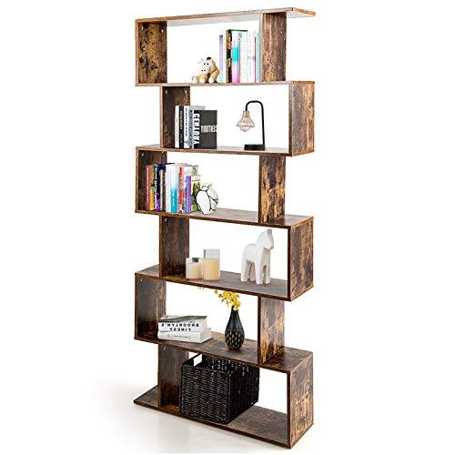 DREAMADE Bücherregal Standregal mit 6 Fächer, Treppenregal Würfelregal Holzregal Dekoregal, Raumteiler AktenregalPflanzenregal Aufwahrung Regal für Wohnzimmer Büro Balkon (Kaffee)