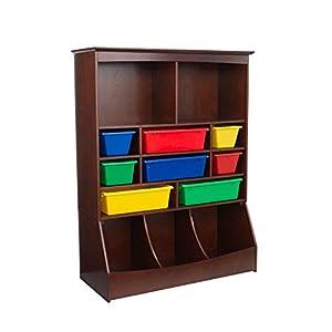 KidKraft Wooden Wall Storage Unit with 8 Plastic Bins & 13 Compartments - Espresso