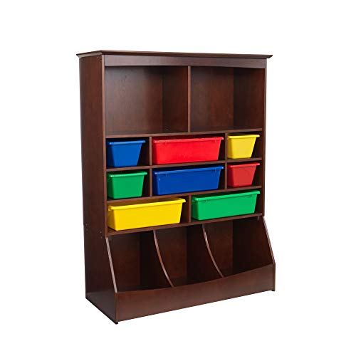 KidKraft Wooden Wall Storage Unit with 8 Plastic Bins and 13 Compartments, Espresso, Gift for Ages 3+