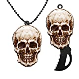 edcfans Small Neck Knife, Box Cutter, EDC Folding Pocket Knives with Chain and Lock Design, Cool Skull Necklace for Men Women, Unique Birthday Gifts for Him Dad Husband Boyfriend
