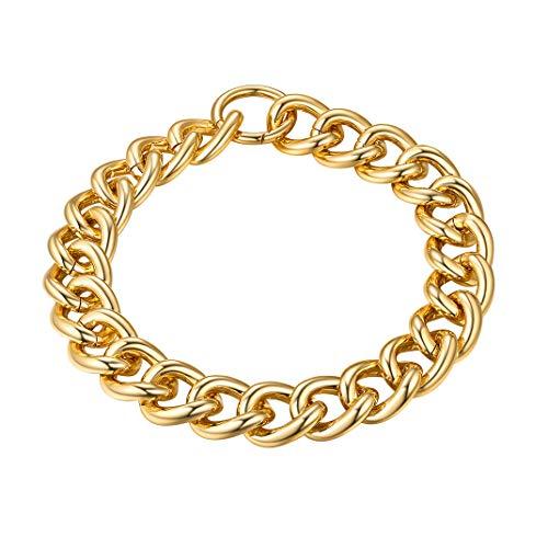 GoldChic Jewelry 18 Pulgadas Choker Grueso Artesanía Pulido Acabado, Oro baño eslabones Rolo Grande con Cierre Easy Hoop, Gratis Caja de Regalo