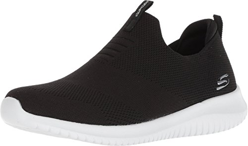 Skechers Ultra Flex First Take Womens Slip On Walking Sneakers, Black/White, 9.5