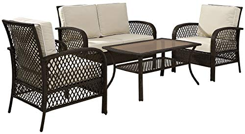 Crosley Furniture KO70037BR-SA Tribeca 4-Piece Outdoor Wicker Seating Set (Loveseat, 2 Arm Chairs, Coffee Table), Brown with Sand Cusions