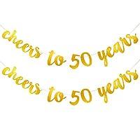 Cheers to 50 Years バナー ゴールドグリッター 50歳の誕生日バナー リボン付き 誕生日 結婚式 記念日 パーティーの装飾に 2ピース
