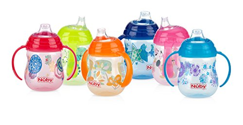 Nuby 1-Pack Designer Series No-Spill Clik-It Grip n' Sip Soft Flex Spout Cup, 9 Ounce - Colors May Vary