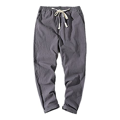 N\P Pantalones casuales de los hombres Slim Color sólido recortado Pantalones de verano de los hombres