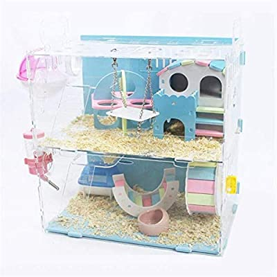 Pet Supplies Acrylic Hamster Cage Transparent Cage Double Layer Villa Color Hamster (Color : A) from east