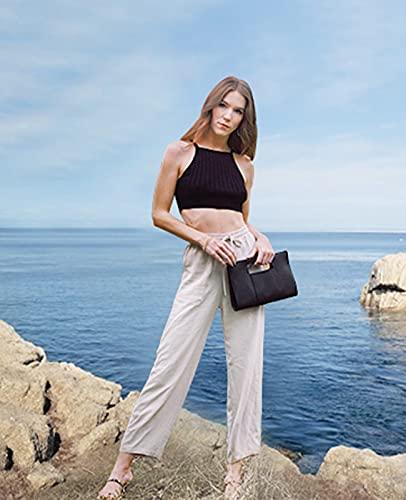 MEOMUA Women's Linen Pants - Loose Beach Cotton Drawstring Slacks Small Linen