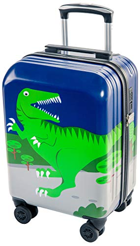 Lttxin Kids' Luggage 19inch New Style Polycarbonate Upgrade Carry On Rolling Suitcae Hard Shell For Boys (Cute Dinosaur-Perfect Printing)