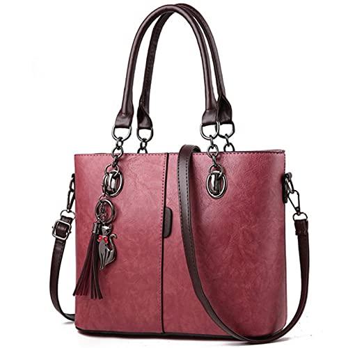 SSLBOO 2021 hiver femmes Hit couleur sacs à main en cuir sacs fourre-tout décontractés sac à bandoulière sac à poignée supérieure avec pompon et pendentif chat