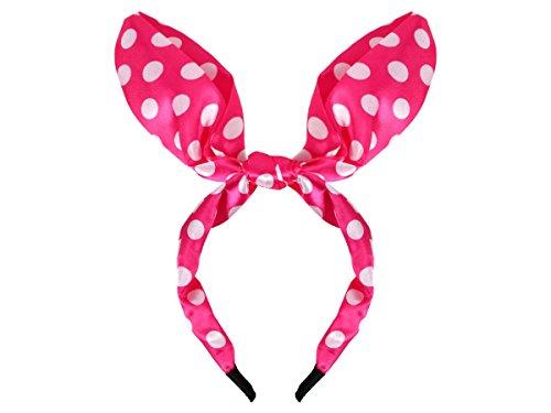 Alsino Rockabilly Haarband met strik, muisoren en stippen HR-11 roze-wit gestippeld