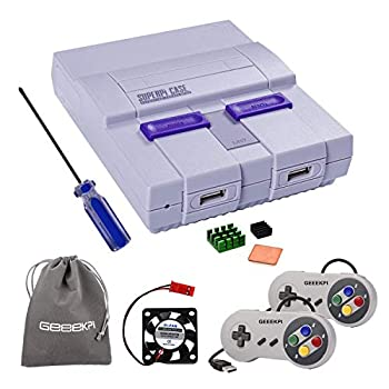 Retroflag SUPERPI CASE NESPI Case UCase SNES Case Functional Power and Safe Reset Button with 2PCS USB Controllers Raspberry Pi Heatsink Fan for RetroPie Raspberry Pi 3/2 Model B & Raspberry Pi 3 B+