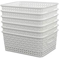 Sandmovie - Cestas Tejidas de plástico, 6 Unidades, Color Blanco
