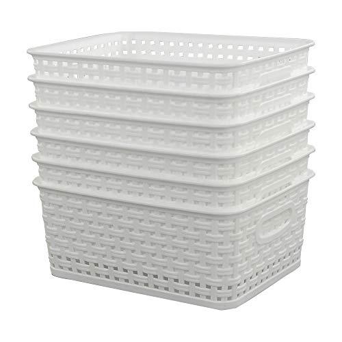 Sandmovie Weiss Korb Plastik Kunststoff Aufbewahrungskorb Haushaltskorb Rattenkörbe, 6 Stück