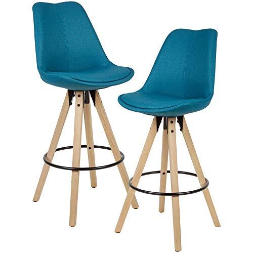 FineBuy 2er Set Barhocker Petrol Stoff/Massivholz | Design Barstuhl Skandinavisch 2 Stück | Tresenhocker mit Lehne Sitzhöhe 77 cm