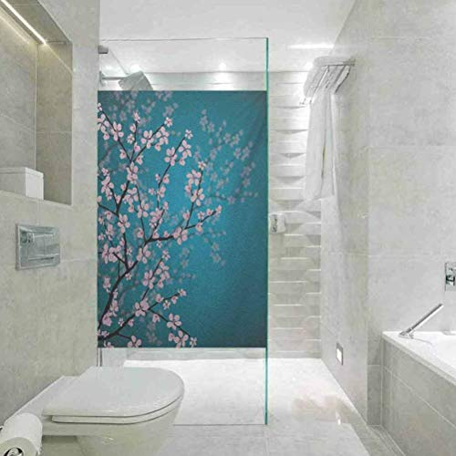 DIY Home Decoration Glass Stickers Window Film Teal Pink Blossom Art Leaves and Plants Ombre Spring Japanese Sa, Home Window Tönungsfolie Heat Control, 45 x 199,9 cm