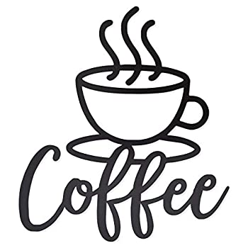 Metal Coffee Cup Wall Sign Home Kitchen Décor  Black 11.8 x 13 Inches