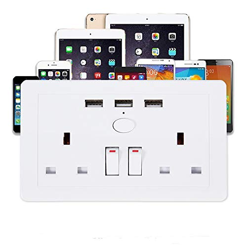 13A Electric Wall Sockets Double Switch 2 Gang 3 USB 2.1A Charging Ports Wall Plate Double Pole Switched White Wall Power Outlets for Home Office