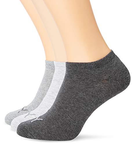 Puma Sneaker Plain 3p Calze Sportive, Grigio (Anthraci/L Mel Grey/M Mel Grey), 35/38 EU (Pacco da 3) Unisex – Adulto