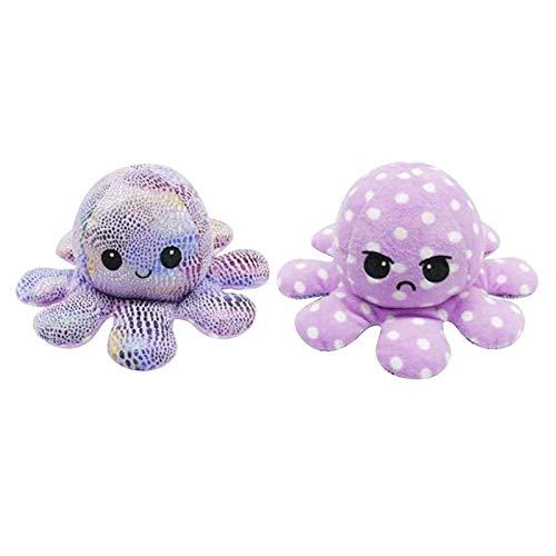Auifor Flip Plüsch Oktopus Spielzeug, stofftier Puppe Doppelseitiger Flip Reversibel Sanft Tintenfisch Kinder Süß Tier Cartoon plüschtier 1 Stück Geschenk Kinderspielzeug (A29)