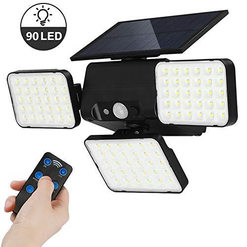 GEYUEYA Home 90 LED Solarlampen für Außen mit Bewegungssensor, Solarleuchten Garten Mit Fernbedienung IP65 Wasserdicht 3 Modi Dimmbar Solar Aussenleuchte Solarlicht für Garten,Wände,Veranda