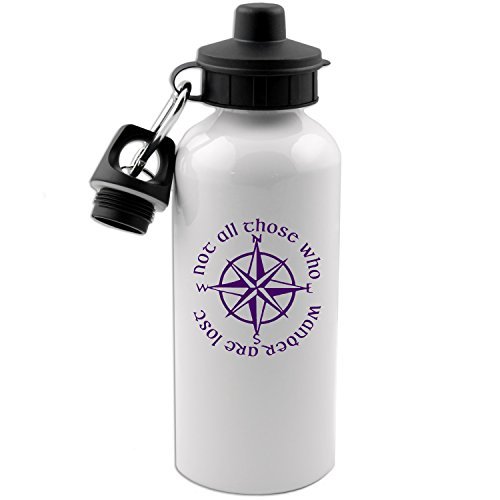 Decal Serpent Not All Those Who Wander are Lost LOTR Compass 20 OZ White Aluminum Water Bottle (Purple)