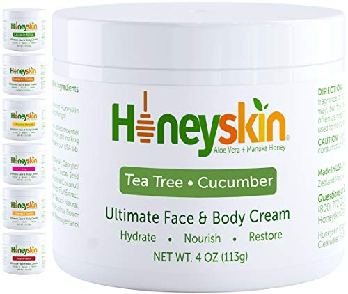 Organic Face and Body Moisturizing Skin Lotion - with Manuka Honey and Coconut Oil - Anti Aging and Wrinkle - Hydrating Facial Moisturizer - Skin Tightening - Natural Tea Tree Cucumber Scent (4oz)