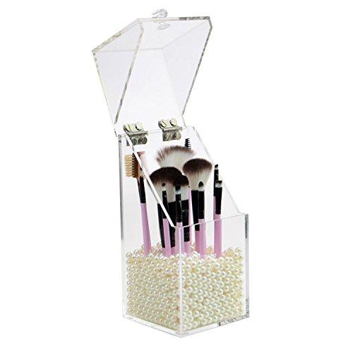 Acryl-Aufbewahrungsbox für Make-up-Pinsel und Lippenstift, staubfrei, mit gratis Perlen