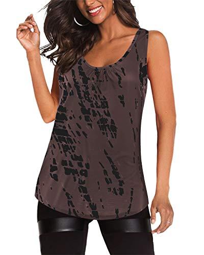 YOINS Sommer Shirt Damen Oberteile Elegant Bluse Damen Sexy Schulterfrei Sommer Kurzshirt Casual T-Shirt Ärmellos-braun L