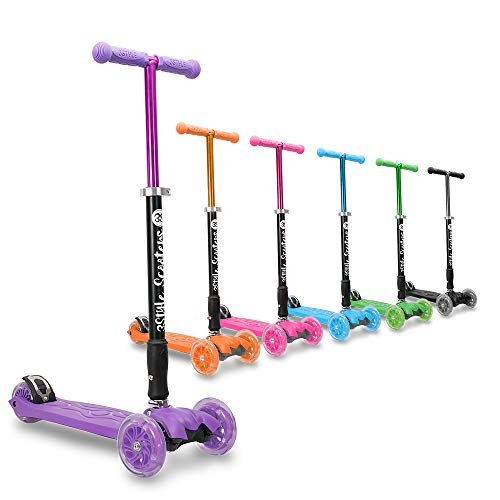 3StyleScooters® RGS-2 Patinete Scooter Tres Ruedas para Niños Niños de 5 Años o Más con Luces LED en Las Ruedas, Diseño Plegable, Manillar Ajustable, Peso Ligero (Morado)