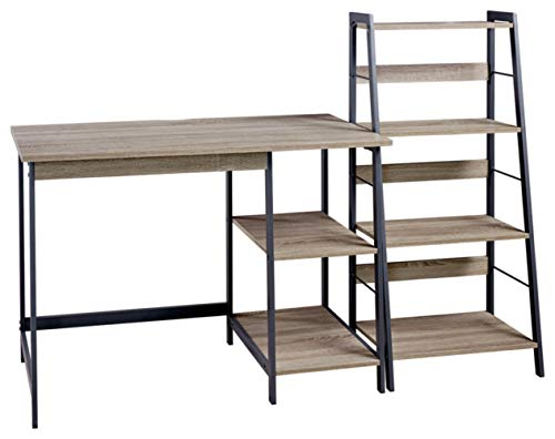Signature Design by Ashley Homestar 2 Piece Laptop Desk & 4-Shelf Bookcase Set, 43' x 23.6' x 47'/20' x 14' x 44', Reclaimed Wood