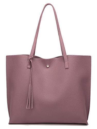 Women's Soft Faux Leather Tote Shoulder Bag from Dreubea, Big Capacity Tassel Handbag Rubber Red