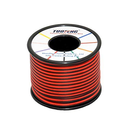 TUOFENG 22 AWG Cable eléctrico 60 metros [Negro 30 metros Rojo 30 metros] Cable flexible de silicona 2 Conductor Línea de cable paralelo Conexión electrónica suave Cable Alambre de cobre estañado