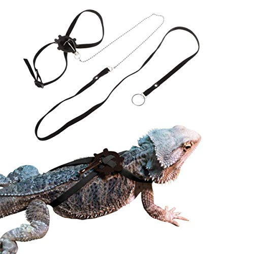 Sawyd Adjustable Reptile Lizard Harness Leash,Turtle Lizard Pet Traction Belt Bearded Dragon Accessories Soft Small Pet Animal Harness Rope -1.2M (Black)