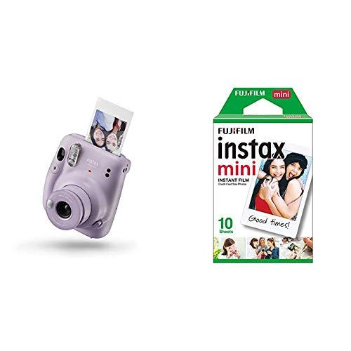 Instax Mini 11 - Cámara instantánea, Liliac Purple + Fujifilm Instax Mini Brillo Película fotográfica instantánea (10 Hojas)