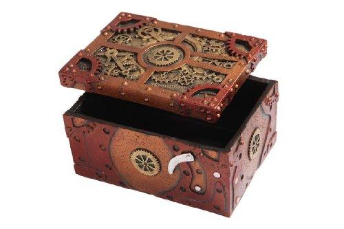"Steampunk Themed Clockwork Jewelry Trinket Box Figurine 5""Long 3"