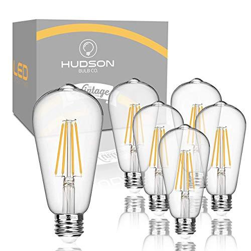 Hudson Vintage LED 6W Edison Light Bulbs (6 Pack) - 2700K Non Dimmable Soft White Lightbulbs (60W Equivalent) - E26/E27 Base Clear Glass - ST58 Style Filament Light Bulb Set