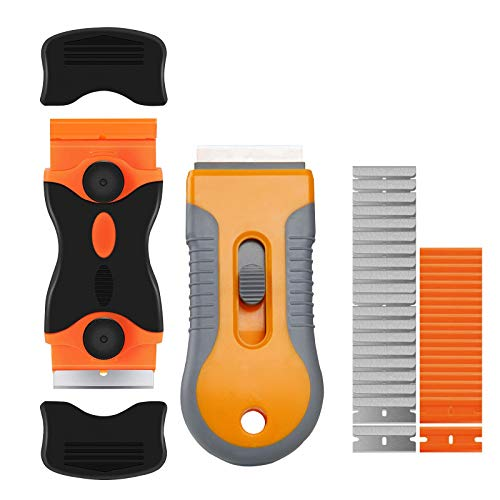 Razor Blade Scraper, Retractable Razor Blades Scraper and Double Edge Scraper Tool Set with 40 Extra Replaceable Blades for Removing Window Glass Labels Decal Stickers Kitchen Stove Top