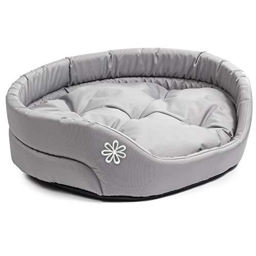 BOUTIQUE ZOO Hundebett | Oval Hundekissen für Kleine Hunde oder Katzen | Kratzfest Hundeliege mit Kissen | Hundekorb | Waschbar Polyester | Große: M (54x47 cm) | Farbe: Grau
