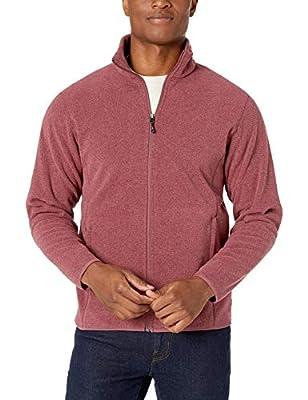 Amazon Essentials Men's Full-Zip Polar Fleece Jacket, Burgundy Heather, X-Small