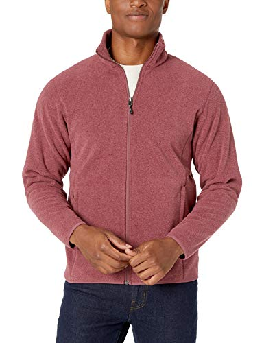 Amazon Essentials Men's Full-Zip Polar Fleece Jacket, Burgundy Heather, XX-Large