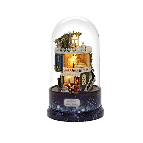 LKYBOA Miniatura casa de muñecas casa Ideal con Girar la Caja de música Juego de Guardapolvos de luz LED