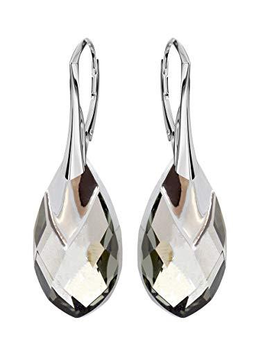 *Beforya Paris* NEUHEIT - Meadow\'s Breath - Tolle Exklusive Ohrringe - Farbe Black Diamond - Silber 925 Schön Damen Ohrringe mit Kristallen von Swarovski Elements - Wunderbare Ohrringe
