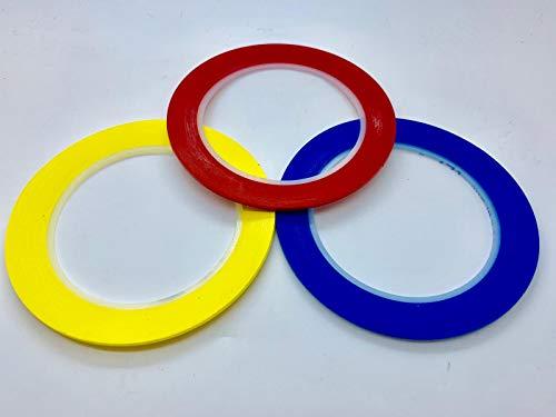 3M Abklebebänder Klebeband für Lackierung Auto, Ausrichten, Feine Linie, Lackieren, 33M (2mm Rot+2mm Gelb+2mm Blau)