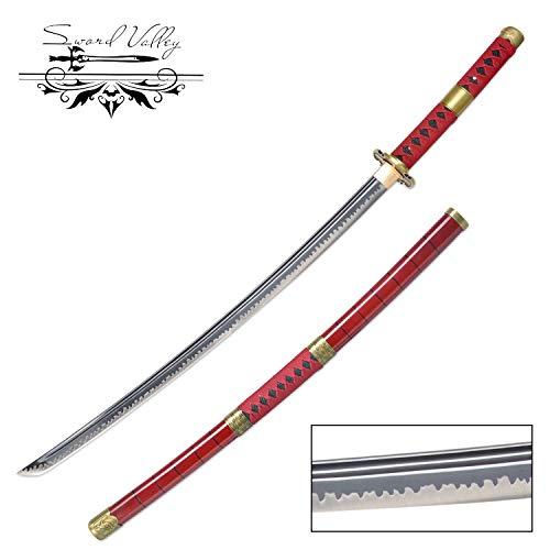 Swords Valley® Handgemachtes Japanisches Katana-Samuraischwert, 1045 Stahl aus mittlerem Kohlenstoff, Roronoa Zoro Anime-Schwerter, scharfe Messer, Kitetsu