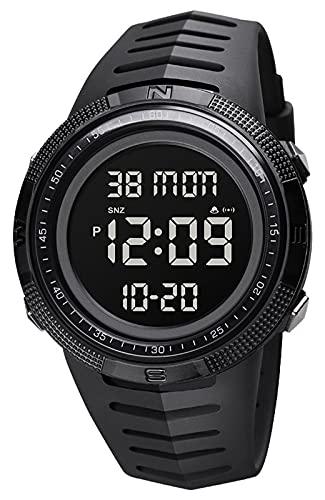 Relojes Hombre Digital Deportivos, Relojes de Pulsera Militares Negro con Resistente al Agua 50M LED Alarma Cronómetro Reloj Esfera Grandes para Hombre