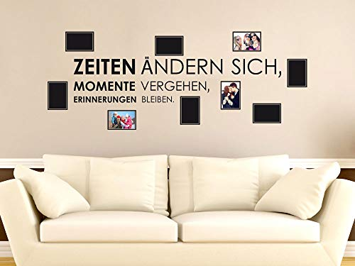 GRAZDesign Fotogalerie an die Wand Flur Spruch Zeiten ändern Sich, Momente vergehen, Wandaufkleber Wanddeko Erinnerungen bleiben, Wandtattoo Fotowand / 150x57cm
