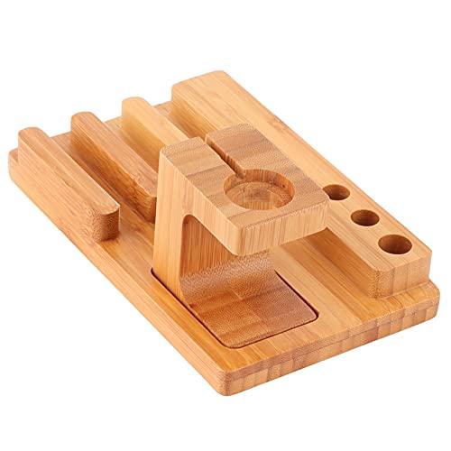 Wosune Organizador del Almacenamiento del Ordenador portátil, Tenedor Pulido Madera de bambú del Reloj para el Dormitorio para el Hombre