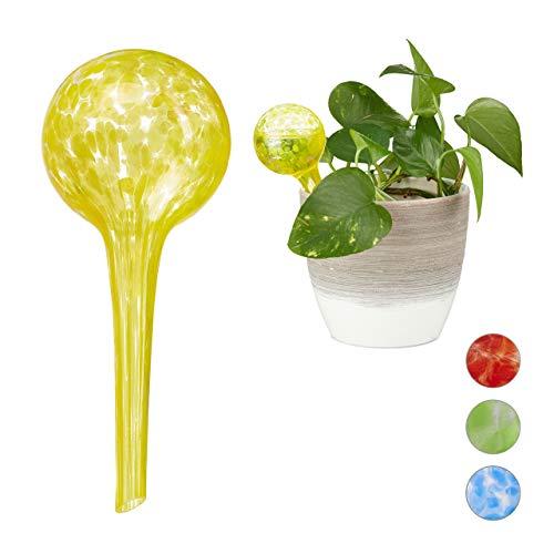 Relaxdays Bewateringsballen set van 2, gedoseerde irrigatie planten en bloemen, giethulp kantoor, vakantie, Ø 6 cm, glas, geel, 2 stuks